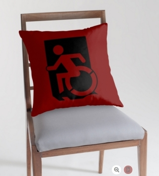 Accessible Means of Egress Icon Exit Sign Wheelchair Wheelie Running Man Symbol by Lee Wilson PWD Disability Emergency Evacuation Throw Pillow Cushion 153
