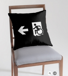 Accessible Means of Egress Icon Exit Sign Wheelchair Wheelie Running Man Symbol by Lee Wilson PWD Disability Emergency Evacuation Throw Pillow Cushion 154