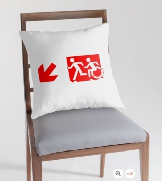 Accessible Means of Egress Icon Exit Sign Wheelchair Wheelie Running Man Symbol by Lee Wilson PWD Disability Emergency Evacuation Throw Pillow Cushion 155