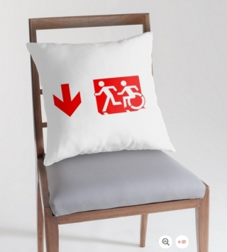 Accessible Means of Egress Icon Exit Sign Wheelchair Wheelie Running Man Symbol by Lee Wilson PWD Disability Emergency Evacuation Throw Pillow Cushion 156