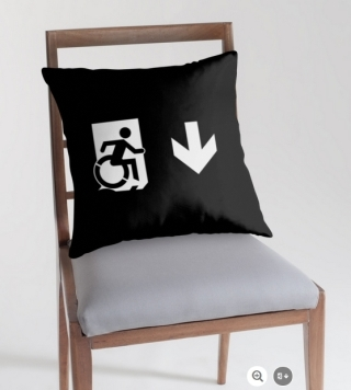Accessible Means of Egress Icon Exit Sign Wheelchair Wheelie Running Man Symbol by Lee Wilson PWD Disability Emergency Evacuation Throw Pillow Cushion 157