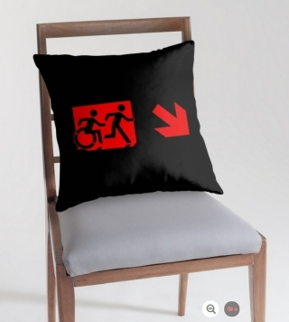 Accessible Means of Egress Icon Exit Sign Wheelchair Wheelie Running Man Symbol by Lee Wilson PWD Disability Emergency Evacuation Throw Pillow Cushion 158