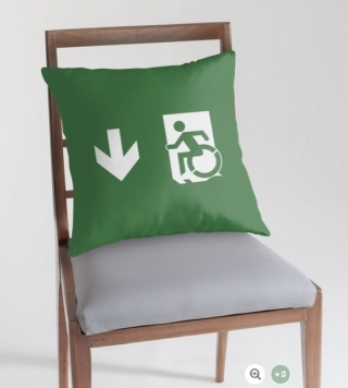 Accessible Means of Egress Icon Exit Sign Wheelchair Wheelie Running Man Symbol by Lee Wilson PWD Disability Emergency Evacuation Throw Pillow Cushion 16