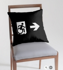 Accessible Means of Egress Icon Exit Sign Wheelchair Wheelie Running Man Symbol by Lee Wilson PWD Disability Emergency Evacuation Throw Pillow Cushion 160