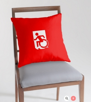 Accessible Means of Egress Icon Exit Sign Wheelchair Wheelie Running Man Symbol by Lee Wilson PWD Disability Emergency Evacuation Throw Pillow Cushion 163
