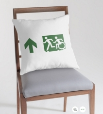 Accessible Means of Egress Icon Exit Sign Wheelchair Wheelie Running Man Symbol by Lee Wilson PWD Disability Emergency Evacuation Throw Pillow Cushion 18