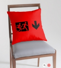Accessible Means of Egress Icon Exit Sign Wheelchair Wheelie Running Man Symbol by Lee Wilson PWD Disability Emergency Evacuation Throw Pillow Cushion 2