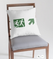 Accessible Means of Egress Icon Exit Sign Wheelchair Wheelie Running Man Symbol by Lee Wilson PWD Disability Emergency Evacuation Throw Pillow Cushion 21