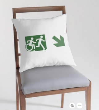 Accessible Means of Egress Icon Exit Sign Wheelchair Wheelie Running Man Symbol by Lee Wilson PWD Disability Emergency Evacuation Throw Pillow Cushion 22