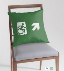 Accessible Means of Egress Icon Exit Sign Wheelchair Wheelie Running Man Symbol by Lee Wilson PWD Disability Emergency Evacuation Throw Pillow Cushion 24