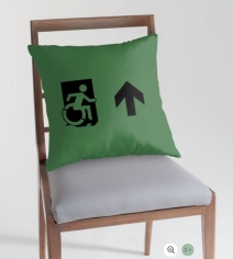 Accessible Means of Egress Icon Exit Sign Wheelchair Wheelie Running Man Symbol by Lee Wilson PWD Disability Emergency Evacuation Throw Pillow Cushion 25