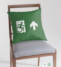 Accessible Means of Egress Icon Exit Sign Wheelchair Wheelie Running Man Symbol by Lee Wilson PWD Disability Emergency Evacuation Throw Pillow Cushion 27