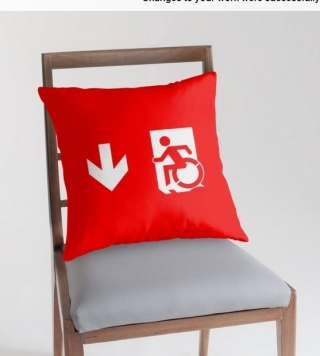 Accessible Means of Egress Icon Exit Sign Wheelchair Wheelie Running Man Symbol by Lee Wilson PWD Disability Emergency Evacuation Throw Pillow Cushion 28