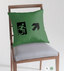 Accessible Means of Egress Icon Exit Sign Wheelchair Wheelie Running Man Symbol by Lee Wilson PWD Disability Emergency Evacuation Throw Pillow Cushion 3