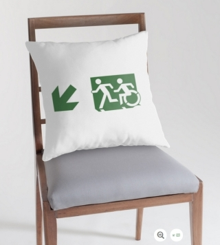 Accessible Means of Egress Icon Exit Sign Wheelchair Wheelie Running Man Symbol by Lee Wilson PWD Disability Emergency Evacuation Throw Pillow Cushion 30