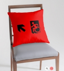 Accessible Means of Egress Icon Exit Sign Wheelchair Wheelie Running Man Symbol by Lee Wilson PWD Disability Emergency Evacuation Throw Pillow Cushion 32