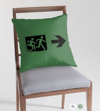 Accessible Means of Egress Icon Exit Sign Wheelchair Wheelie Running Man Symbol by Lee Wilson PWD Disability Emergency Evacuation Throw Pillow Cushion 34