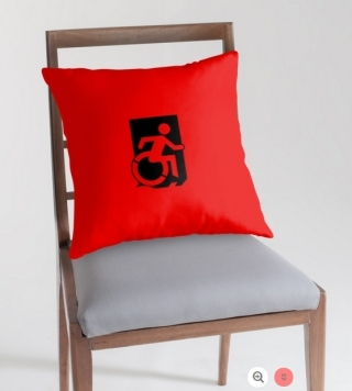 Accessible Means of Egress Icon Exit Sign Wheelchair Wheelie Running Man Symbol by Lee Wilson PWD Disability Emergency Evacuation Throw Pillow Cushion 35