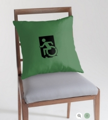Accessible Means of Egress Icon Exit Sign Wheelchair Wheelie Running Man Symbol by Lee Wilson PWD Disability Emergency Evacuation Throw Pillow Cushion 37