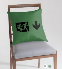 Accessible Means of Egress Icon Exit Sign Wheelchair Wheelie Running Man Symbol by Lee Wilson PWD Disability Emergency Evacuation Throw Pillow Cushion 38