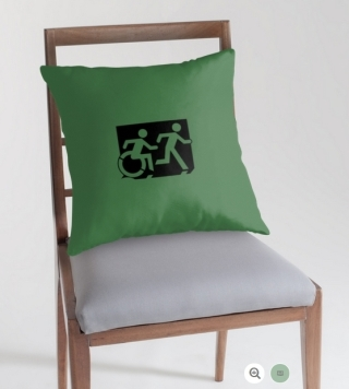 Accessible Means of Egress Icon Exit Sign Wheelchair Wheelie Running Man Symbol by Lee Wilson PWD Disability Emergency Evacuation Throw Pillow Cushion 39
