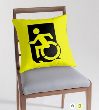 Accessible Means of Egress Icon Exit Sign Wheelchair Wheelie Running Man Symbol by Lee Wilson PWD Disability Emergency Evacuation Throw Pillow Cushion 4