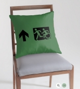 Accessible Means of Egress Icon Exit Sign Wheelchair Wheelie Running Man Symbol by Lee Wilson PWD Disability Emergency Evacuation Throw Pillow Cushion 40