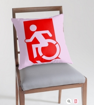 Accessible Means of Egress Icon Exit Sign Wheelchair Wheelie Running Man Symbol by Lee Wilson PWD Disability Emergency Evacuation Throw Pillow Cushion 42