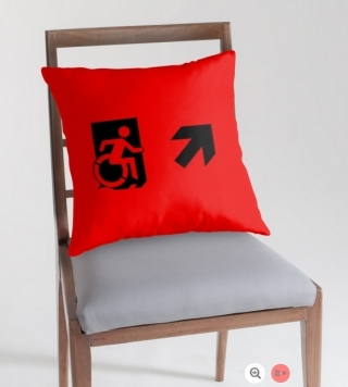 Accessible Means of Egress Icon Exit Sign Wheelchair Wheelie Running Man Symbol by Lee Wilson PWD Disability Emergency Evacuation Throw Pillow Cushion 43