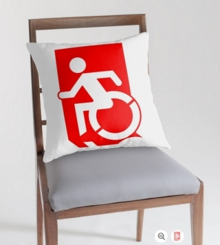 Accessible Means of Egress Icon Exit Sign Wheelchair Wheelie Running Man Symbol by Lee Wilson PWD Disability Emergency Evacuation Throw Pillow Cushion 44
