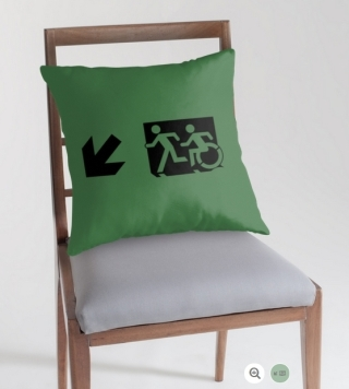 Accessible Means of Egress Icon Exit Sign Wheelchair Wheelie Running Man Symbol by Lee Wilson PWD Disability Emergency Evacuation Throw Pillow Cushion 45