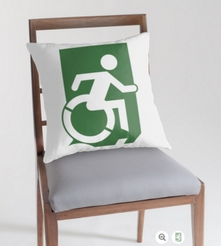 Accessible Means of Egress Icon Exit Sign Wheelchair Wheelie Running Man Symbol by Lee Wilson PWD Disability Emergency Evacuation Throw Pillow Cushion 46