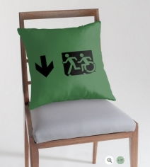 Accessible Means of Egress Icon Exit Sign Wheelchair Wheelie Running Man Symbol by Lee Wilson PWD Disability Emergency Evacuation Throw Pillow Cushion 47