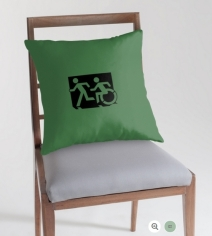 Accessible Means of Egress Icon Exit Sign Wheelchair Wheelie Running Man Symbol by Lee Wilson PWD Disability Emergency Evacuation Throw Pillow Cushion 48