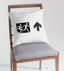 Accessible Means of Egress Icon Exit Sign Wheelchair Wheelie Running Man Symbol by Lee Wilson PWD Disability Emergency Evacuation Throw Pillow Cushion 49