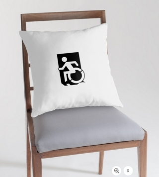 Accessible Means of Egress Icon Exit Sign Wheelchair Wheelie Running Man Symbol by Lee Wilson PWD Disability Emergency Evacuation Throw Pillow Cushion 50