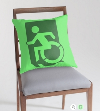 Accessible Means of Egress Icon Exit Sign Wheelchair Wheelie Running Man Symbol by Lee Wilson PWD Disability Emergency Evacuation Throw Pillow Cushion 51