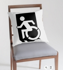 Accessible Means of Egress Icon Exit Sign Wheelchair Wheelie Running Man Symbol by Lee Wilson PWD Disability Emergency Evacuation Throw Pillow Cushion 52