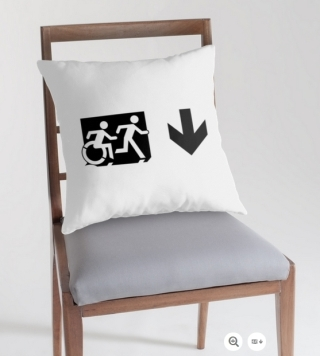 Accessible Means of Egress Icon Exit Sign Wheelchair Wheelie Running Man Symbol by Lee Wilson PWD Disability Emergency Evacuation Throw Pillow Cushion 53