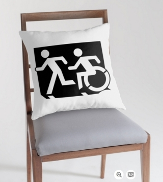 Accessible Means of Egress Icon Exit Sign Wheelchair Wheelie Running Man Symbol by Lee Wilson PWD Disability Emergency Evacuation Throw Pillow Cushion 54