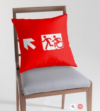 Accessible Means of Egress Icon Exit Sign Wheelchair Wheelie Running Man Symbol by Lee Wilson PWD Disability Emergency Evacuation Throw Pillow Cushion 55