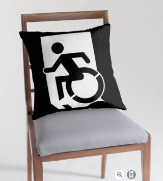 Accessible Means of Egress Icon Exit Sign Wheelchair Wheelie Running Man Symbol by Lee Wilson PWD Disability Emergency Evacuation Throw Pillow Cushion 56