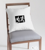 Accessible Means of Egress Icon Exit Sign Wheelchair Wheelie Running Man Symbol by Lee Wilson PWD Disability Emergency Evacuation Throw Pillow Cushion 58