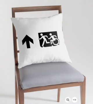 Accessible Means of Egress Icon Exit Sign Wheelchair Wheelie Running Man Symbol by Lee Wilson PWD Disability Emergency Evacuation Throw Pillow Cushion 59