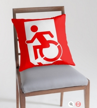 Accessible Means of Egress Icon Exit Sign Wheelchair Wheelie Running Man Symbol by Lee Wilson PWD Disability Emergency Evacuation Throw Pillow Cushion 60