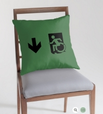 Accessible Means of Egress Icon Exit Sign Wheelchair Wheelie Running Man Symbol by Lee Wilson PWD Disability Emergency Evacuation Throw Pillow Cushion 61