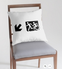 Accessible Means of Egress Icon Exit Sign Wheelchair Wheelie Running Man Symbol by Lee Wilson PWD Disability Emergency Evacuation Throw Pillow Cushion 62