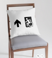 Accessible Means of Egress Icon Exit Sign Wheelchair Wheelie Running Man Symbol by Lee Wilson PWD Disability Emergency Evacuation Throw Pillow Cushion 63