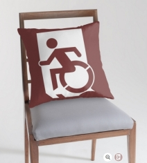 Accessible Means of Egress Icon Exit Sign Wheelchair Wheelie Running Man Symbol by Lee Wilson PWD Disability Emergency Evacuation Throw Pillow Cushion 64