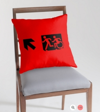 Accessible Means of Egress Icon Exit Sign Wheelchair Wheelie Running Man Symbol by Lee Wilson PWD Disability Emergency Evacuation Throw Pillow Cushion 65